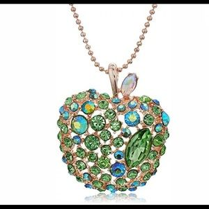 Betsey Johnson Apple Green Rhinestone Necklace NWT